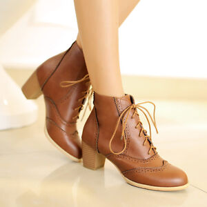 Vintage-Womens-Wing-tip-lace-up-ankle-boots-brogue-Mid-chunky-heel-shoes-SIZE-AU
