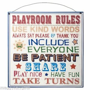 Image Is Loading Playroom Rules Metal Hanging Sign Childrens Kids Wall