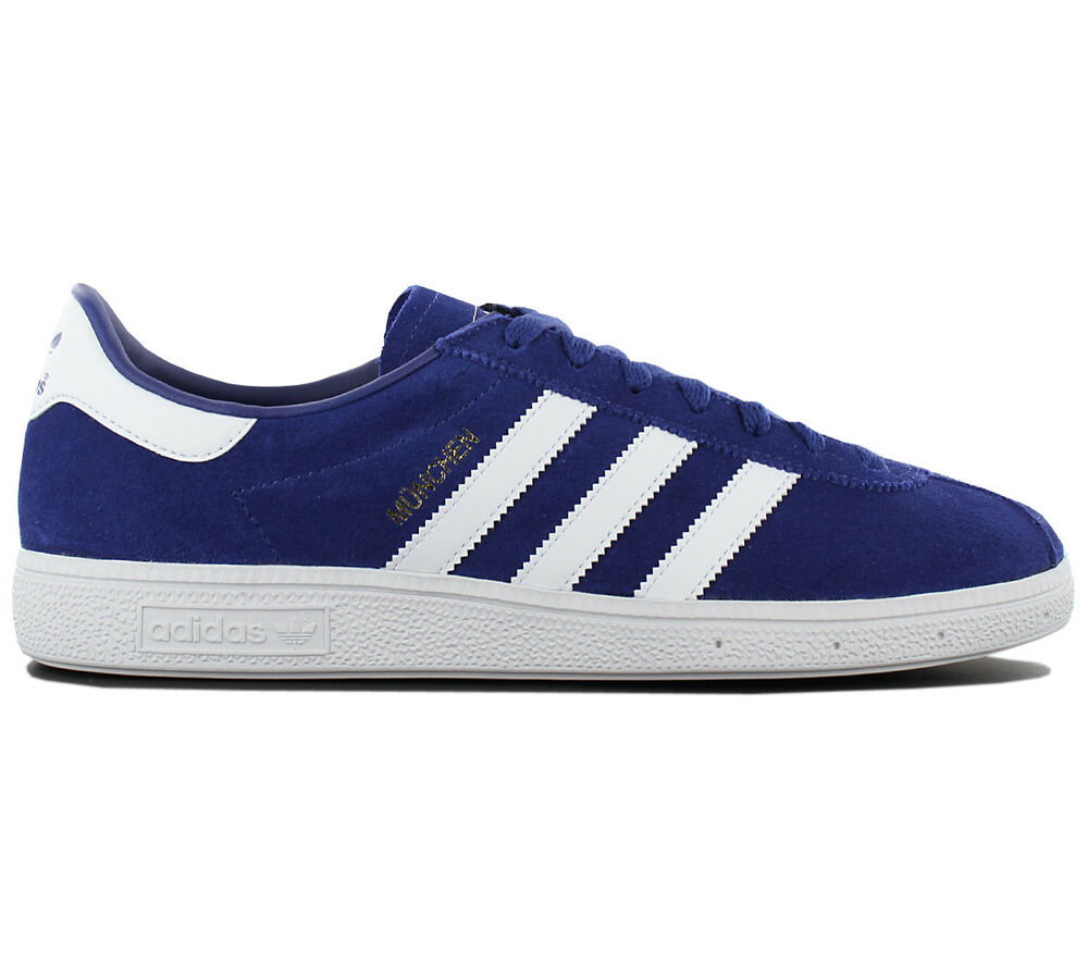Infatigable Adidas Originals München Leather Hommes Sneaker Chaussures Bleu By9787 De Sport