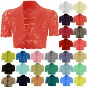 Girls-Crochet-Bolero-Shrug-Kids-Knitted-Short-Sleeve-Cardigan-New-Age-2-13-Years