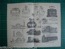 Antique print spinning mill machine / industry cotton  1894 weaving water frame