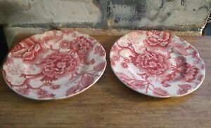 Vintage-Johnson-Bros-ENGLISH-CHIPPENDALE-RED-PINK-6-3-8-034-BREAD-PLATE-set-of-2