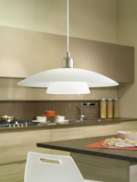 Kitchen pendant Design hanging lamp nickel ceiling light Weiß glass NEW 54991