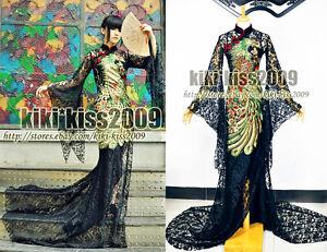 Gothic-Blacks-Lace-Cheongsam-Chipao-Embroider-Phoenix-Evening-Dress-Custom-made