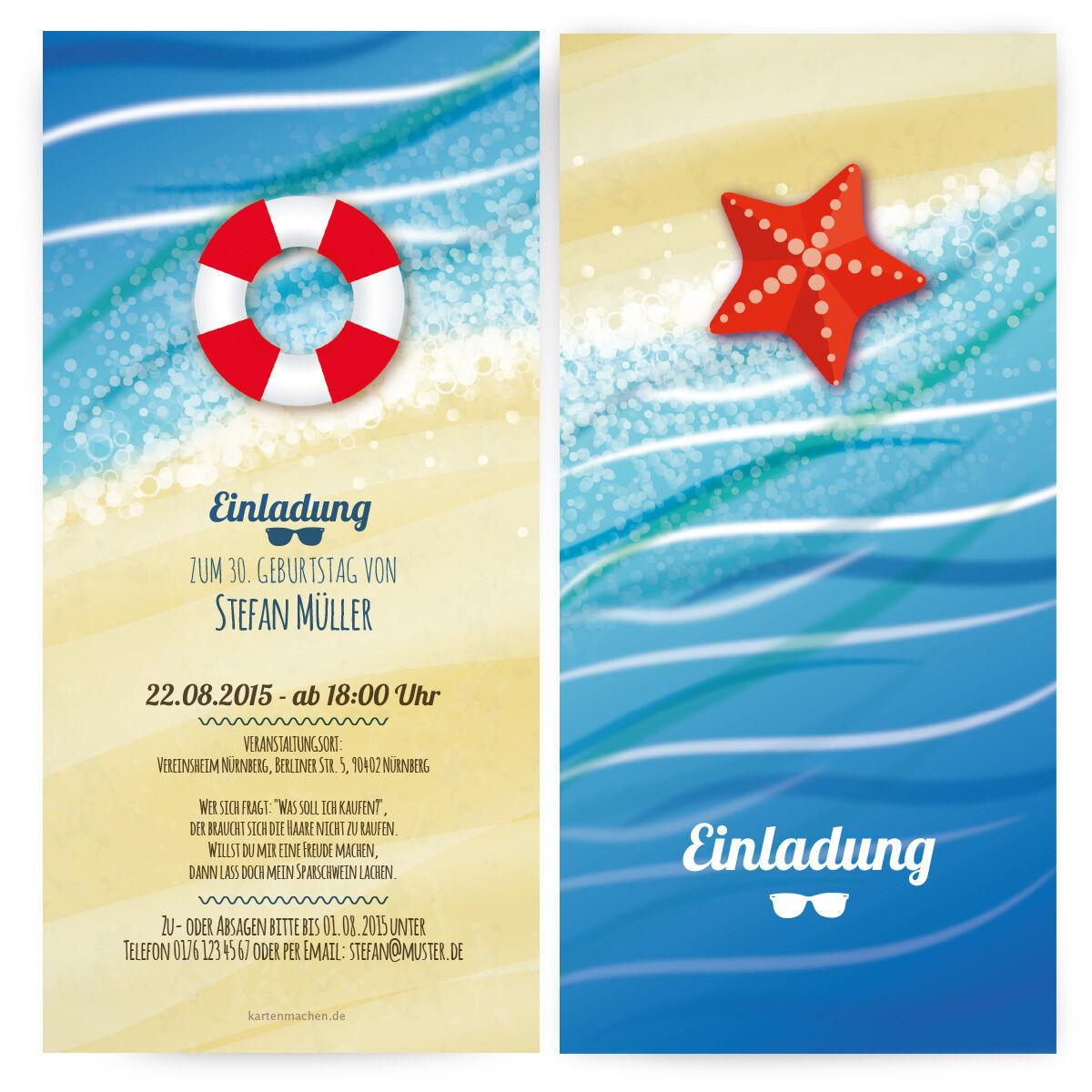 Einladungen zum Geburtstag im Stand & Meer Motiv Sommer Wasser Einladungskarten    Erste Klasse in seiner Klasse    Moderne und stilvolle Mode