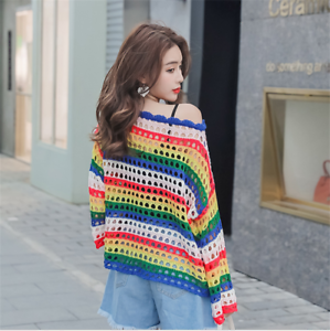 Women Knitted Jumpers Sweater Rainbow Striped Hollow Out Net Loose Tops Pullover