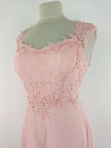wholesale dealer 48a22 796b2 Dettagli su Abito Corto Donna Vestito Rosa Elegante Cerimonia Merletto  Pizzo made in italy