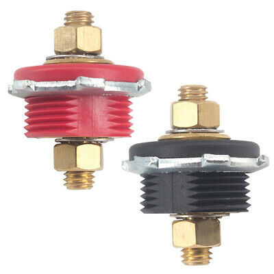 Amppe Thru Panel Battery Junction Post Connector Terminal Kit Red and Black Pack of 2 3//8 Brass Stud Battery Power and Ground Junction Block