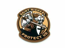 Saint Michael Protect Us Crusader Dark Earth PVC Airsoft Paintball Patch