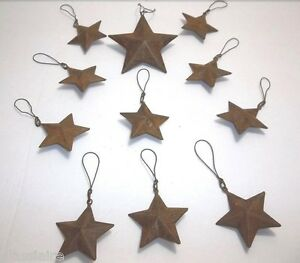 Vintage Rusty TIN STAR Christmas Tree Ornament SET OF 11