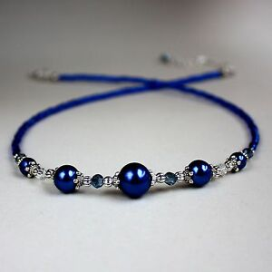 Midnight-blue-pearls-crystal-silver-collar-choker-vintage-style-beaded-necklace