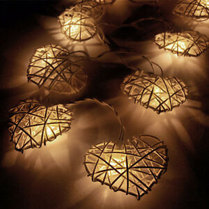 Image Is Loading 10 Rattan Heart String Fairy Lights Warm White