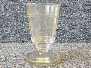 Antique Continental Drinking Glass Rummer , Faceted Sides & etching / worn gilt