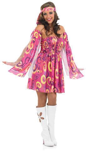 1960s Pink Swirl Hippy Fancy Dress Ladies 60s Hippie Women Adult Sixties Costume