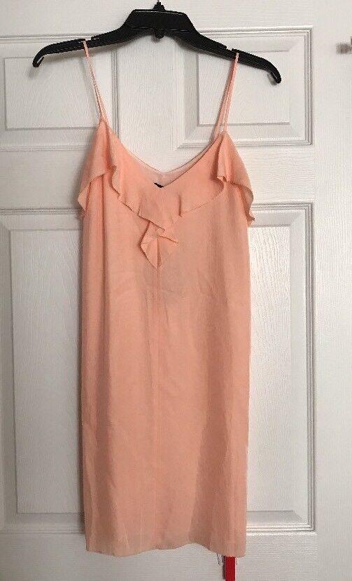 NWT RAG BONE Bright Peach Orchard Slip Dress Ruffle Mini  Größe 00