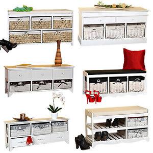 kommode sitzbank truhe landhaus schrank mit schubladen regal holzbank sideboard ebay. Black Bedroom Furniture Sets. Home Design Ideas