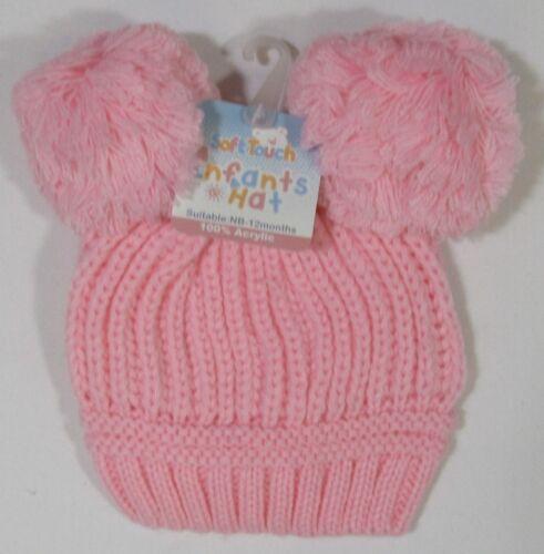 Baby Babies Boys Girls Pink Blue Knitted Winter Bobble 2 pom pom Hat NB-24 M 60
