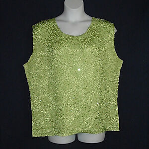 Carole-Little-Lime-Green-Sleeveless-Top-Plus-Size-3X-Crushed-Stretch-Sequin-Trim