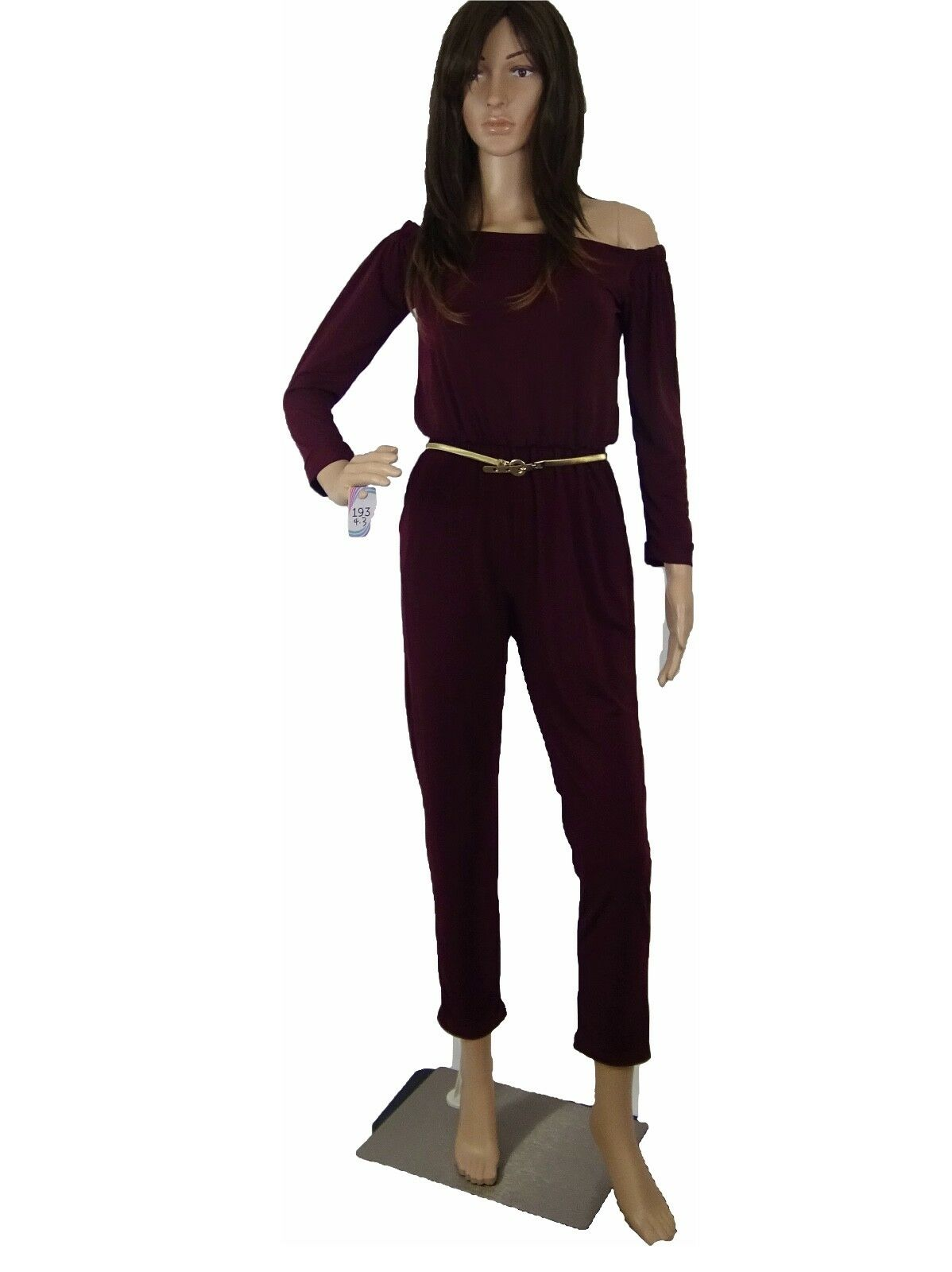 Freeway Women Jumpsuit Stretched Relaxed Fit Loose Off Shoulder 3 4 Sleeve Xs