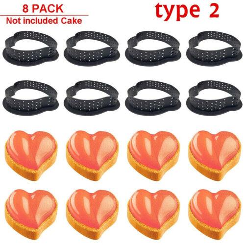8PCS Dessert Bakeware Perforated Cutter Circle Cake Mold Mousse Tart Ring UK