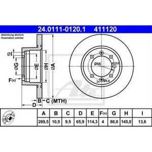 ATE 2x Disques de Frein Plein 24.0111-0120.1