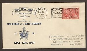 CANADA FIRST DAY COVER - 1937 - CORONATION HIS MAJESTY KING GEORGE VI