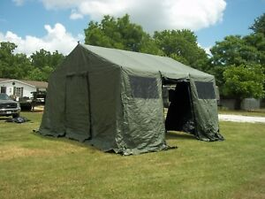 Image is loading MILITARY-BASE-X-TENT-303-ARMY-SURPLUS-CANVAS- & MILITARY BASE X TENT 303 ARMY SURPLUS CANVAS 270 SQ-FT HAS NO LINER ...
