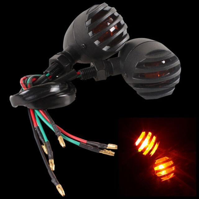 2pcs Amber Bullet Turn Signal Lights Blinker Indicator Black For Harley Chopper