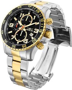 Invicta-Men-039-s-45mm-PILOT-Tachymeter-Specialty-Chrono-Black-Dial-Gold-TT-SS-Watch