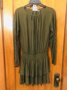 Ramy Brook Sheryl embellished studded tiered long sleeve green dress NWOT sz XXS