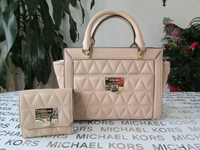 3ee4b58343f5 NWT Michael Kors Leather Vivianne Small Studded TZ Messenger & Wallet Oyster