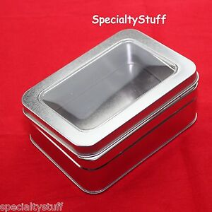 NEW EMPTY 12oz MED BLANK METAL TIN WITH CLEAR HINGED LID RECTANGULAR CONTAINER