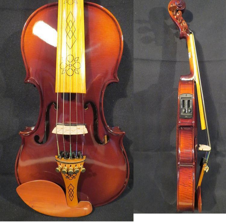 braun Farbe 5 strings 4 4 electric violin +Acoustic violin, free   Bow & Case