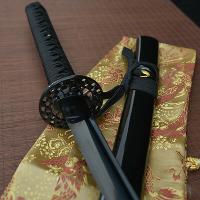 41' hand forged all black 1060 blade japanese Katana samurai real sword  tang