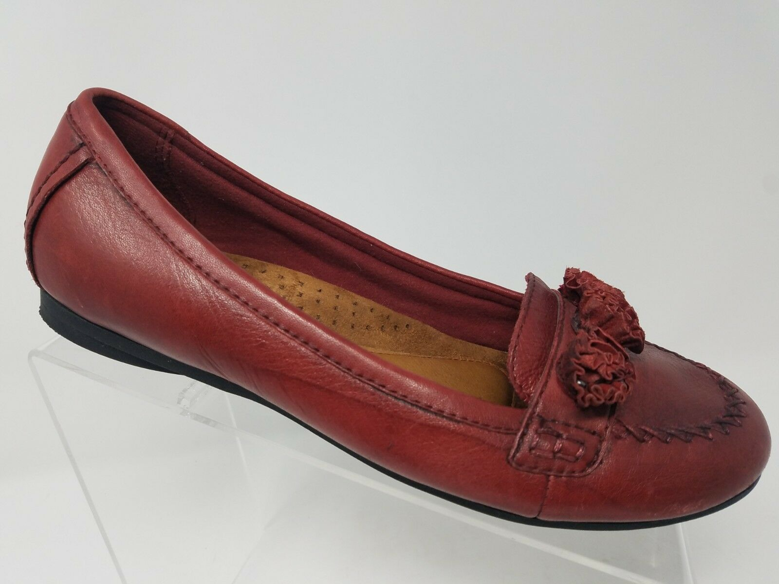 Cobb Hill Floral Womens Flat Size 7.5 Wide Red Leather Comfort shoes