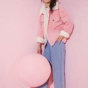 Womens-Pink-Corduroy-Sherpa-Jacket-Ladies-Fleece-Lined-Top-Coat-Casual-Vintage