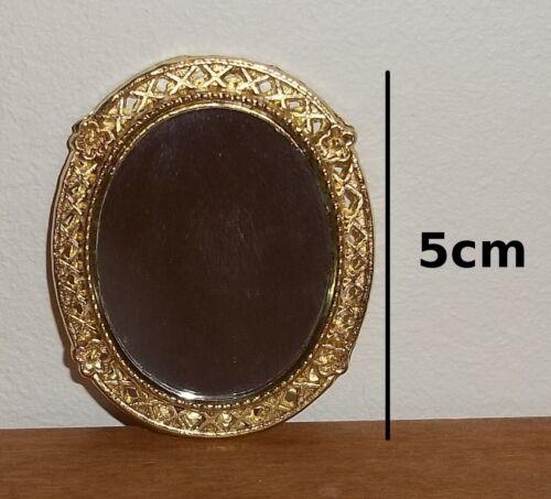 miroir ovale avec cadre doré,miniature maison de poupée vitrine,collection *C4e