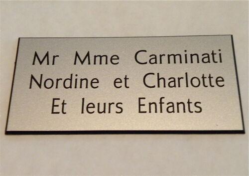 plaque gravée boite aux lettres porte personnalisée 3 lignes Format 150x75MM