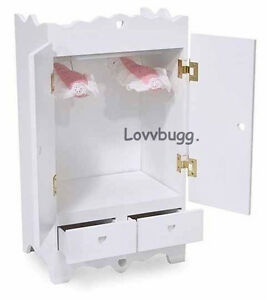 Image Is Loading White Wardrobe Armoire Furniture For 18 Inch Doll