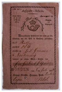 1832-POSTAL-RECEIPT-NORDERNEY-Osttfriesische-Insel