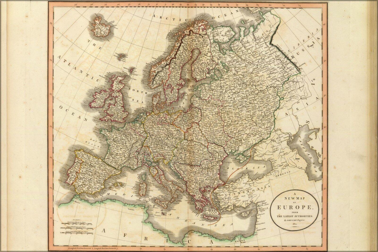 Affiche, Plusieurs Tailles; Carte de Europe, le Dernier Cary Authorities. John Cary Dernier , 1088da