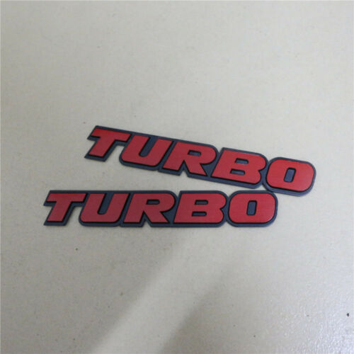 2PCS Red TURBO Metal Sticker Decal Emblem Badge Racing Sports Fender v6 v8 Truck