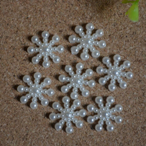 Hot 100× Snowflake Flatback Pearl Embellishments Christmas Craft  DIY Tools