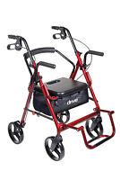 Drive Medical 795B, 795BK, 705BU Duet Rollator/walker transport chair combo