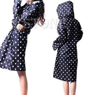 New Women Girls Waterproof Raincoat Cute Dot Rainwear Rain Riding Clothes