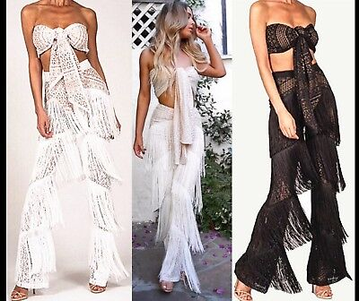 Women High Waist Lace See Through Palazzo Party Trousers 2 Pcs Set Boob Tube Top