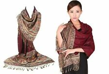 Women 100% Pashmina Cashmere Silk Scarves Wool Shawl Wrap Long Scarf Multicolor