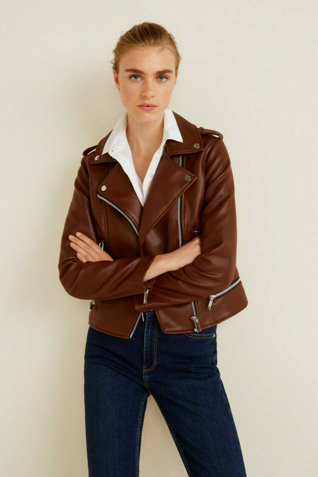 Mango Brown Applique Biker Zip Detail Jacket Uk Size Small Vr219 02 For Sale Online Ebay