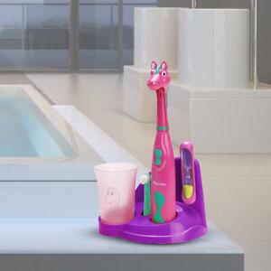 Detalles de Eléctrico Infantil Dientes Cepillo Caballo Diseño Cuarto de  Baño Soporte Big Luz