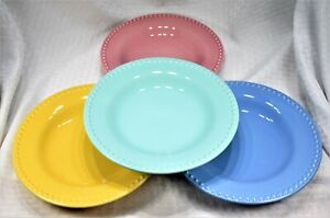 Set-of-4-Pottery-Barn-Emma-Bright-Colors-Blue-Green-Pink-Yellow-Salad-Plates